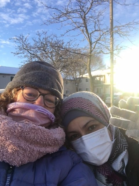 Two walkers bundled up, Susanne and Hiba
