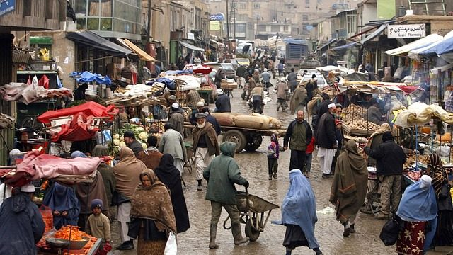 A bustling town in Afghanistan